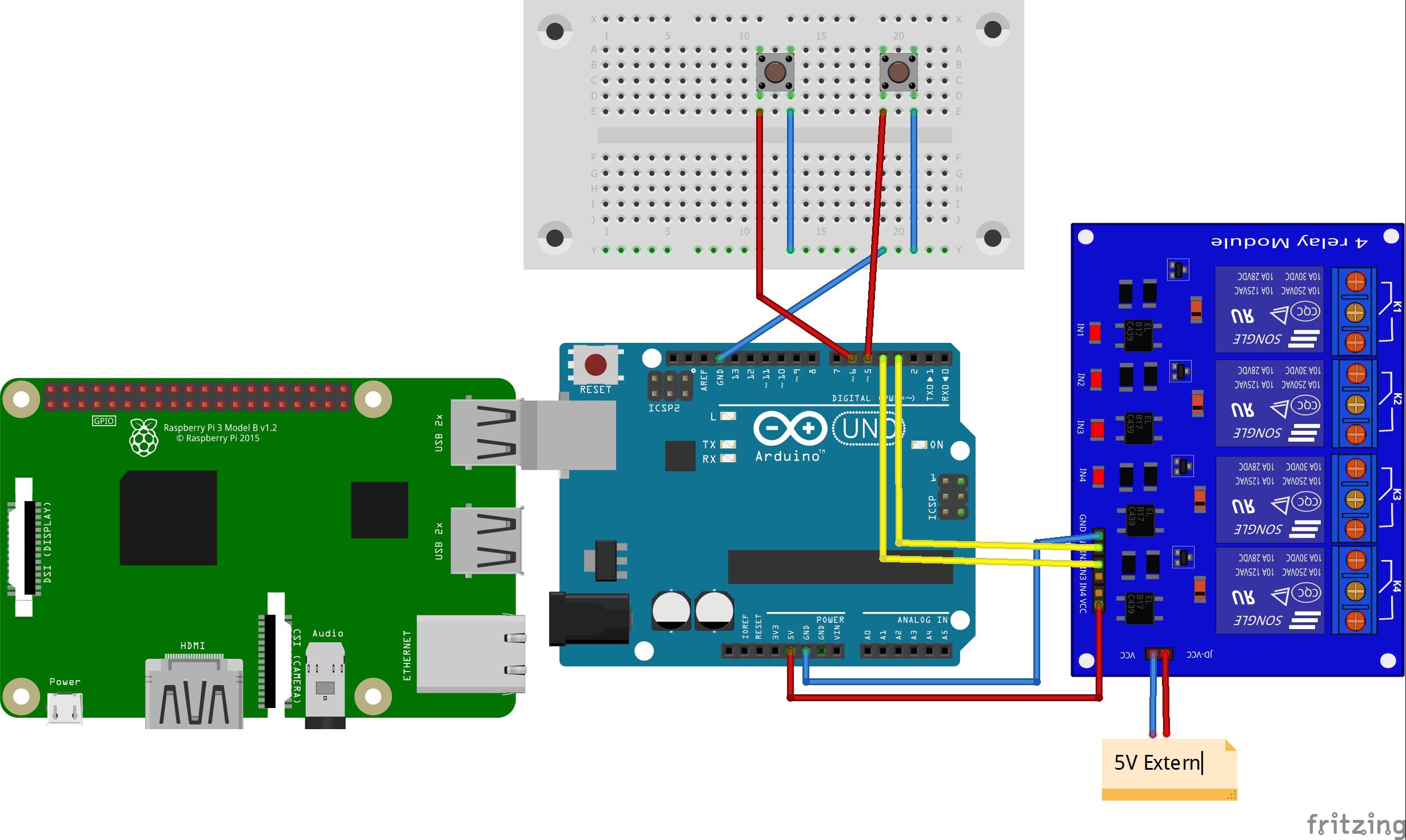 Aufbau Arduino Raspberry